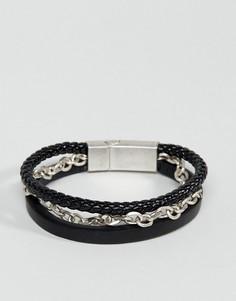 Кожаный браслет Steve Madden - Черный