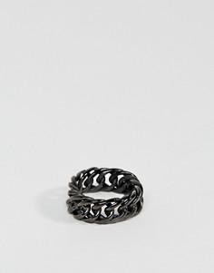 Кольцо-цепочка с крупными звеньями Steve Madden - Черный