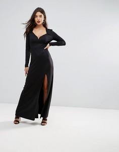 Платье макси с вырезом в форме сердца и разрезом Ivyrevel - Черный
