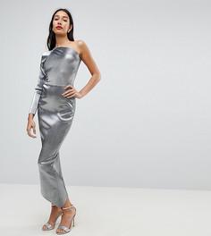 Платье-футляр на одно плечо с эффектом металлик John Zack Tall - Серебряный