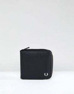 Черный бумажник из сафьяновой кожи на молнии Fred Perry - Черный