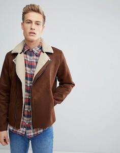Байкерская куртка из искусственной овчины Jack & Jones Premium - Рыжий