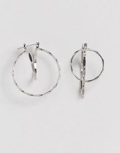 Плоские серьги-кольца ASOS - Серебряный