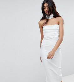Облегающее платье миди со сборками на лифе и перекрестами сзади ASOS TALL - Кремовый