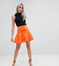 Мини-юбка с оборкой ASOS PETITE - Оранжевый