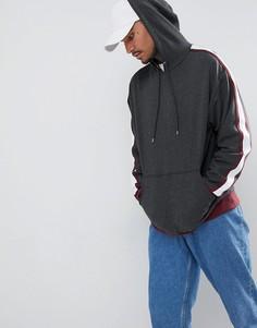 Удлиненный oversize-худи с отделкой кантом на рукавах ASOS - Серый