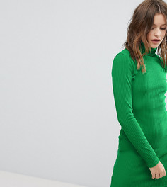 Платье в рубчик с длинными рукавами и отворачивающимся воротником PrettyLittleThing - Зеленый