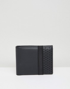 Черный бумажник с перфорацией и эластичным ремешком New Look - Черный