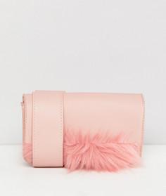 Сумка через плечо с меховой отделкой Pieces - Розовый