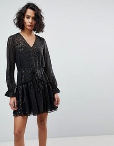 Платье мини металлик AllSaints - Черный