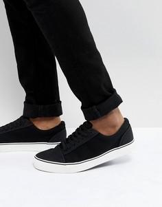 Черные парусиновые кроссовки на шнуровке New Look - Черный