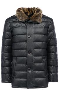 Куртка из натуральной кожи с отделкой мехом енота Al Franco