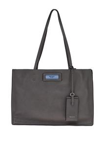 Серая кожаная сумка Etiquette Prada