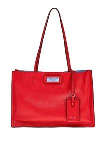 Красная сумка из кожи Etiquette Prada