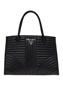 Черная кожаная сумка Diagramme Prada