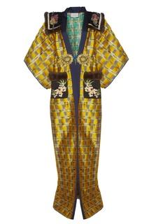 Жаккардовое пальто с вышивкой и мехом Gucci