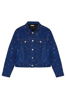 Джинсовая куртка с кристаллами Miu Miu
