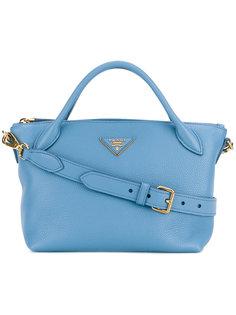 маленькая сумка-тоут с логотипом Prada