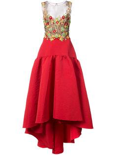 вечернее платье с цветами Marchesa Notte