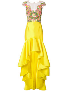 платье с вышивкой Mikado Marchesa Notte