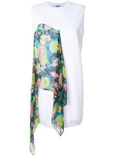 короткое платье-шифт с деталью в виде шарфа MSGM