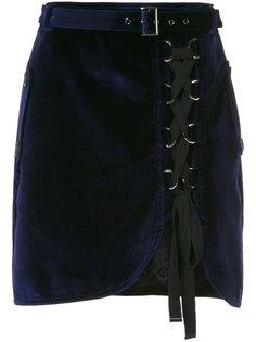 бархатная юбка со шнуровкой Self-Portrait
