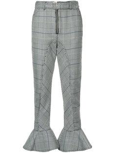 клетчатые брюки с расклешенными манжетами Self-Portrait