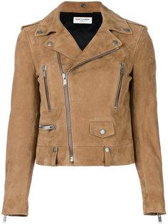 замшевая байкерская куртка Saint Laurent