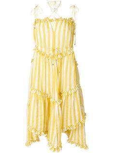 платье в полоску с рюшами Zimmermann