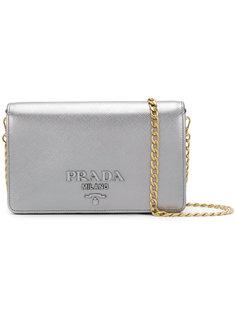 сумка через плечо с отделкой металлик Prada