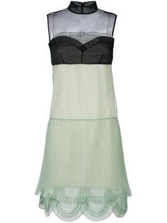 плиссированное платье со вставками  Prada