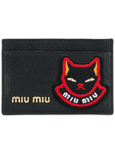 визитница с логотипом и нашивкой-котом  Miu Miu