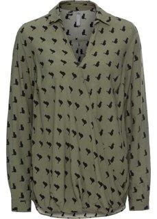 Блузка с запахом (оливковый/черный с рисунком) Bonprix