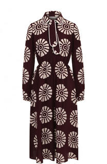 Шелковое платье-миди с воротником аскот и принтом Valentino