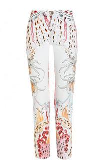 Укороченные джинсы прямого кроя с принтом Roberto Cavalli