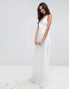 Платье макси с глубоким вырезом и вставками на топе ASOS BRIDAL - Белый