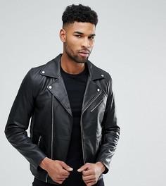 Черная кожаная байкерская куртка ASOS TALL - Черный