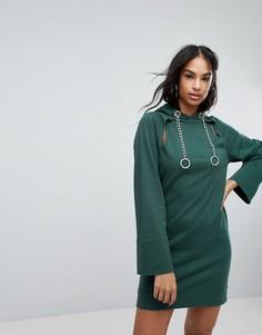Трикотажное платье мини с капюшоном и вырезами ASOS - Зеленый