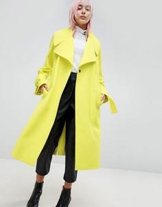 Пальто с поясом ASOS - Зеленый