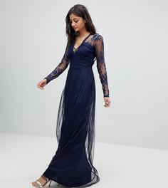 Платье макси с длинными кружевными рукавами ASOS TALL - Темно-синий