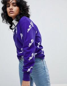 Оверсайз-свитшот со сплошным принтом логотипа Ellesse - Фиолетовый