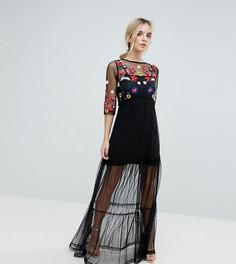 Сетчатое платье макси с вышивкой ASOS PETITE - Черный