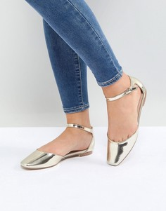 Золотистые туфли на плоской подошве с ремешками на щиколотках Glamorous - Золотой