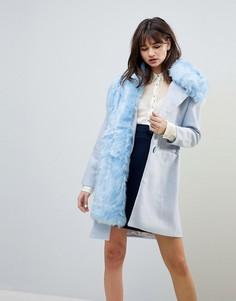 Oversize-пальто с добавлением шерсти и воротником из искусственного меха Cubic Grace - Синий