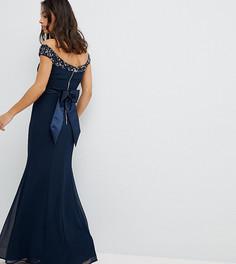 Платье макси с открытыми плечами и пайетками Maya Petite - Темно-синий