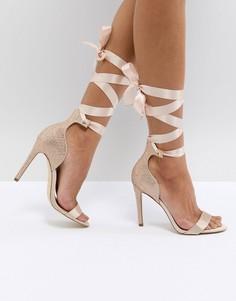 Блестящие туфли с атласными завязками ALDO Mirilian - Золотой