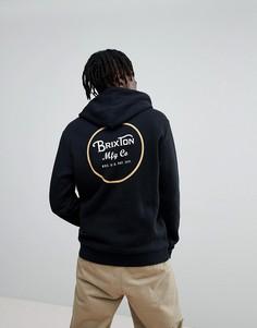 Худи черного цвета с принтом на спине Brixton Wheeler - Черный