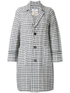 трехцветное твидовое пальто COOHEM