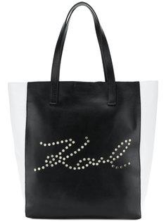 сумка-тоут с перфорацией K/Signature Karl Lagerfeld