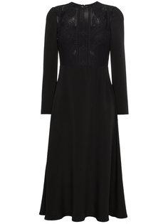 платье с длинными рукавами и кружевной вставкой  Valentino